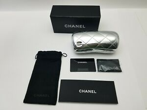 Chanel New Authentic Black Quilted Eyeglasses Hard Case with pouch& Cloth