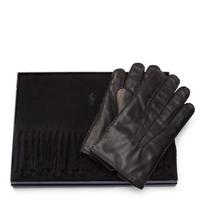 Polo Ralph Lauren Black Cashmere Leather Gloves & Scarf Gift Box Set M New