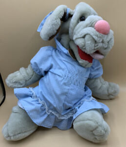 """Vintage 16"""" 1981 Ganzbros Wrinkles Dog Puppet Plush Dress Girl"""