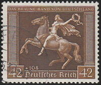 Stamp Germany Mi 671 WWII 1938 3rd Reich Brown Ribbon Horse Race Berlin Used