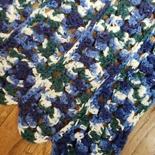 Handmade Crochet Afghan Throw Lap Blanket Shades of Blues and Green