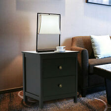 2 Drawers Wood Nightstand Bedside Cabinet End Table File Cabinet Black Home