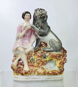 Antique Staffordshire Pottery Figure ANDROCLES & The Lion Victorian c1860 Lions