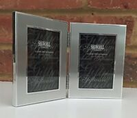 """Silver Metal Double Photo Frame Folding Modern Landscape Fits 2"""" x 3"""" Small New"""