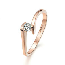 Women Girls Korean Simple Round Zirconia Ring Wedding Engagement Ring Jewelry L