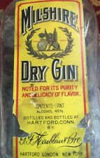 Milshire Dry Gin Vintage Bottle Original Label Glass Stopper RARE