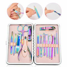 15Pcs Pedicure Manicure Set Nail Care Clippers Cleaner Cuticle Grooming Kit Case