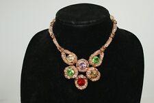 Bollywood Pink Mesh Gold Tone Bridal Wedding Necklace Choker Rhinestones Jewelry