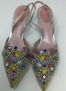 rene caovilla Multicolor Embellished Slingback Snoes W/silver Sparkle Soles...