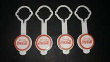 Awesome lot of 4 vintage Coke, Coca-Cola plastic bottle toppers! Unused!