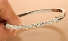 """14k White Gold Finish 3ct Diamond Bangle Bracelet 7 1/2"""" For Women"""