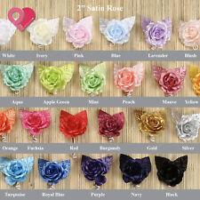"""2""""-3"""" Satin Burlap Foam Rose Bud Flower Applique Wedding Bridal Bouquet 12-96pcs"""