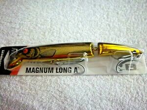 """BOMBER JOINTED MAGNUM LONG A 7"""" / 1 & 7/8 OZ GOLD CHROME BLK BACK RUNS 4' TO 8'"""