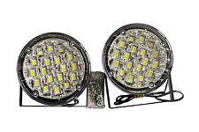 2 x 90mm Round 18 LED Front DRL Daytime Running Lights Fog Lamps White 050-5