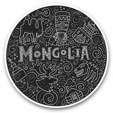 2 x Vinyl Stickers 30cm (bw) - Mongolia Travel Pattern  #37949