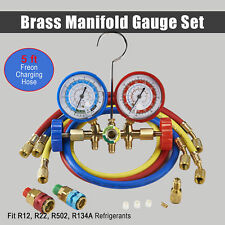 HVAC R134A R22 R12 R502 Diagnostic Brass Manifold Gauge ACME Adapter & 5FT Hoses
