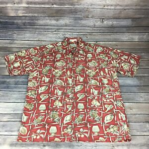 Campia Moda Hawaiian Shirt Red Background Guitars Pineapples Drinks Mens Size L
