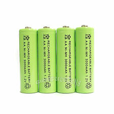 4 x AA 3000mAh Ni-Mh 1.2V rechargeable battery Cell for MP3 RC Green US Stock
