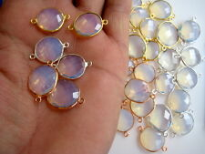 10 Pieces Opalite Fire Opal Gold/Rose Gold/Silver Jewelry Bezel Connectors CCC25