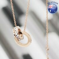 New 18K Rose Gold GF Roman Numerals Crystal Rings Pendant Charm Chain Necklace