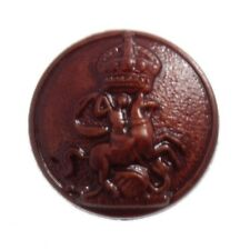 Imitation Red Brown Leather Emblem Shank Button 15mm