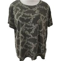 Croft Barrow classic tee T knit top Size 2XL short sleeve brown floral cotton