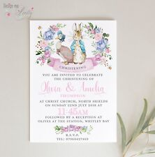 PETER RABBIT & JEMIMA PUDDLEDUCK PERSONALISED CHRISTENING INVITES - Pack of 8