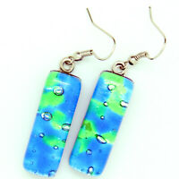 Murano Glass Drop Earrings Blue Green Authentic Handmade Millefiori Venetian