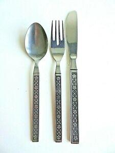 Vintage Stainless Steel Korea Childrens Knife Fork Spoon Set Textured Flowers