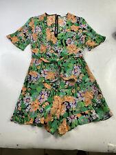 Sandro Paris Silk Floral Print Romper Shorts Dress Belted Size FR 1 US XS S 36