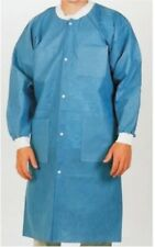 (Xl) 10 Medical Dental Disposable Lab Coat Gown Blue 10/bag Large Size