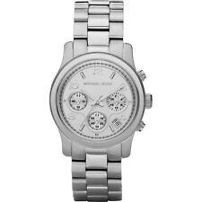 MICHAEL KORS Uhr MK5076 RUNWAY Damen Chronograph Edelstahl Silber Armbanduhr NEU