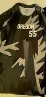Nwt Nike Compression Shirt L Pro Dri-Fit Oregon 55 Short Sleeve Active Blk/Gray