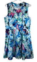 Caroline Morgan Womens Blue Floral Sleeveless Lined Fit Flare Dress Size 14