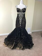 Black Gold Mermaid Beaded Pageant Evening Prom Dress Wedding Formal Plus Size