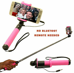 New Easy Wired Selfie Stick Monopod Telescopic For Samsung Galaxy S6 S5 Pink