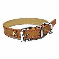 Rosewood Luxury Leather Dog Collar Tan 2 Sizes REDUCED