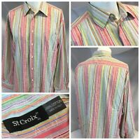 St. Croix Oxford Shirt XL Pink Stripe 100% Cotton Made Italy Mint YGI F9-398