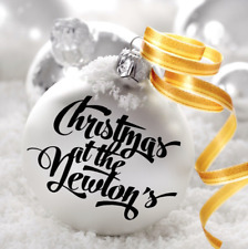 1x Personalised Name Vinyl Decal Sticker Christmas Bauble Decoration