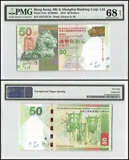 Hong Kong 50 Dollars, 2013, P-213c, UNC, Flower & 50, SCB, PMG 68 EPQ