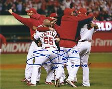 Signed  8x10 SKIP SCHUMAKER 2011 WS Champs St Louis Cardinals photo - COA