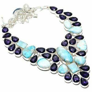 "Republic Larimar, Amethyst Gemstone 925 Sterling Silver Jewelry Necklace 18"""