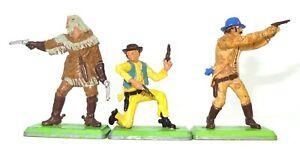 BRITAINS DEETAIL - THREE COWBOYS - RARE ENGLISH FIGURES INC BUFFALO BILL