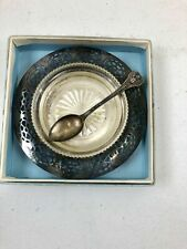 Vintage Crystal Glass Jelly Condiment Dish  Silver Plated