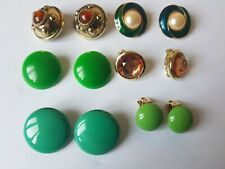 Vintage & modern Job lot clip on earrings green power lot of 6