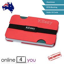 Slim Wallet Aluminium Case RFID Blocking Credit Card Holder ID Cover (RED)