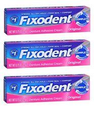 3 Pack - Fixodent Denture Adhesive Cream Original 0.75 oz Each