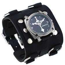 Nemesis WBK927K Men's Skull Crucifixion Black Super Wide Leather Cuff Watch