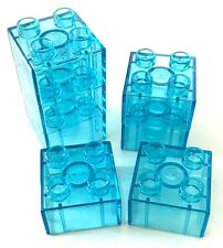 *NEW* 7 Pieces Lego DUPLO TRANS LIGHT BLUE Brick 2x2