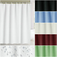Plain White Shower Curtain with Free Hooks Waterproof Fabric Bathroom Curtain